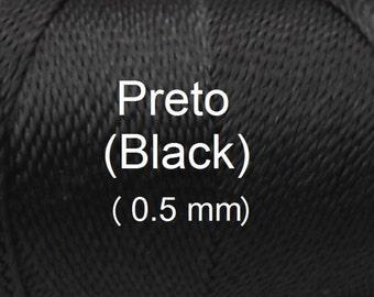 Linhasita (0.5 mm) Black cor PRETO 100% Waxed Polyester Macrame Cord/ String/ Hilo