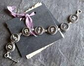 Typewriter Key Bracelet, vintage victorian assemblage jewelry original steampunk repurposed up cycled funky art deco