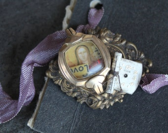 Shadowbox Watch Part Brooch affirmation, watch parts, steampunk, pin, assemblage, vintage antique ephemera, up cycled,