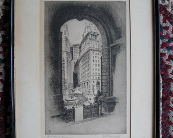 """Nat Lowell """"Bowling Green"""" original etching signed in pencil"""