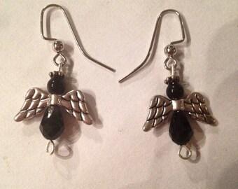Black Glass Angel Earrings