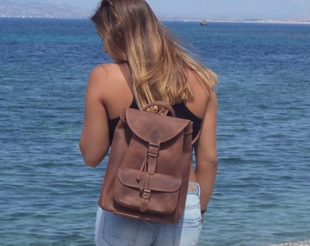 Large leather backpack / Women/Men chestnut leather backpack