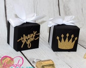 Black, White & Glitter Gold Medium Box Favors Boxes - 10 Boxes  - Prince Crown or Thank You Script - Baby Shower, Birthday Party
