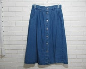 80's full denim midi skirt size 16