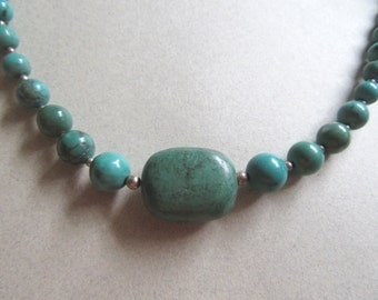 """Vintage Genuine Turquoise Gemstone and Sterling Silver Choker Necklace 16"""" Southwestern  Fine Jewelry Cowgirl Blue Green Midwest Jewelry"""
