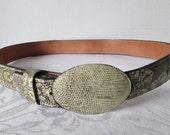 Vintage Snakeskin Belt Leather Imported Aniline Cowhide Ivan Buckle 34/35