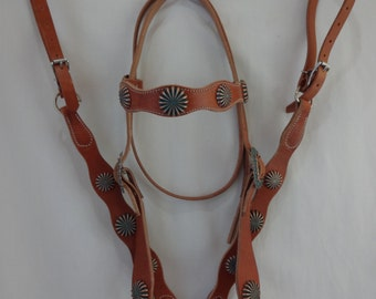 West Coast Tack Harness Leather Headstall Breast Collar Set Horse Pinwheel Copper Turquoise  Conchos