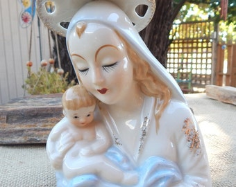 Shafford Madonna Planter  ~  Blessed Mother Mary Planter  ~  Mother Mary and Baby Jesus Planter  ~  Shafford Planter  ~  Virgin Mary Planter