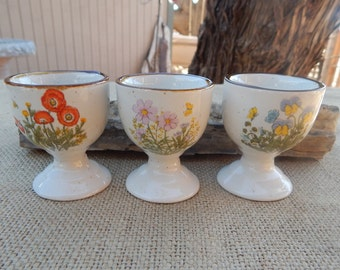 1970's Egg Cups  ~  Floral Egg Cups  ~  Set of 3 Egg Cups