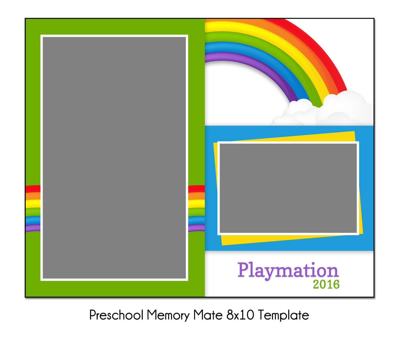 rainbow preschool mm4 8x10 memory mate sports photo template digital file from. Black Bedroom Furniture Sets. Home Design Ideas