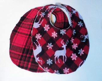 Christmas Bibs, Holiday Bib Set, Newborn Bibs, Baby Toddler Bibs, Nordic and Red Plaid Bib, Gender Neutral, Xmas Minky Bibs, Made To Order
