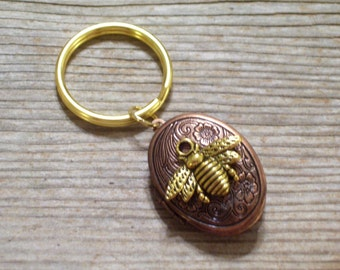 Gold Bee Locket Keychain, Copper Floral Locket Keychain, Copper Floral Locket, Gold Bee Locket, Oval Copper Locket, Gold Plated Key Ring