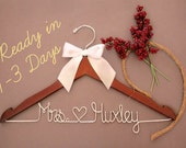 Wedding Dress Hanger, Personalized Bridal Hanger, Custom Wire Name Hanger, Bridal Gift