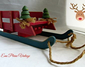 Rustic Country Wood Sleigh Christmas Holiday Table Decor Midwest Imports from Tiawan