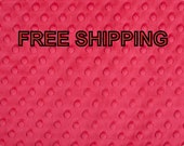 Minky Fabric Dimple Dot Hot Pink by the yard FREE SHIPPING