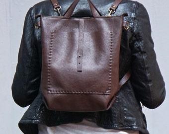 Bercy- Convertible Backpack Shoulder Bag Crossbody- Chocolate