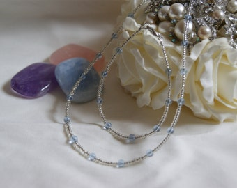 Beaded Necklace and Bracelet Set - Pastel Blue and White