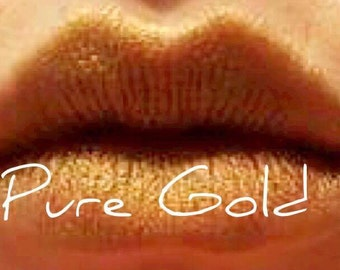 Mineral  Makeup Pure Gold Lipstick - Mineral Lipstick - Metallic Gold Lipstick  -  Vegan Lipstick