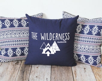 Handmade Canvas Pillow,The Wilderness Awaits, screenprinted pillow, throw pillow, home decor