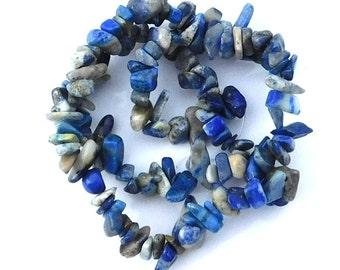 Natural Lapis Lazuli Stone Chip Beads Dark Blue, Ocean Blue, Cobalt, Full Strand, DIY Supplies, Craft Supply