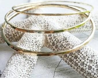 Gold or Silver Stacking Bangles- beach jewelry, ocean jewelry, aloha, hawaii, kauai