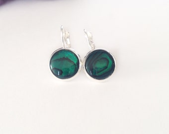Silver/ Green Shell Earrings, Coloured Shell, Colored Shell, Sterling Silver Leverbacks, Bridal Jewelry