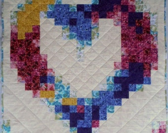 Heart of Flowers Quilt, Floral Heart Quilt, Multi-color Quilt, Patchwork Quilt, Quilted Throw