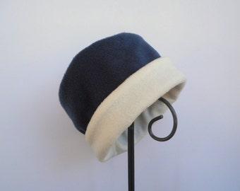 Navy Fleece Hat, Roll Brim Hat, Navy and Ivory Fleece Hat, Soft and Warm Hat, Fleece Hat