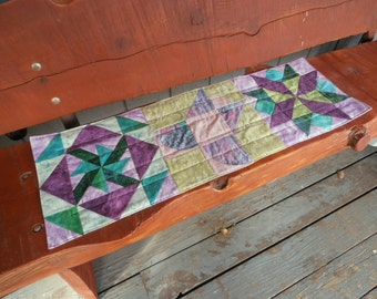 Purple and Green Table Runner, Batik Quilted Table Runner, Reversible Table Runner
