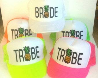 Pineapple Tribe Bride Mesh Trucker Hat Cap Snapback Bachelorette Party Girls Weekend Beach Team
