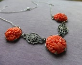 Art Deco sterling silver floral molded coral cabochon necklace. So sweet and pretty!