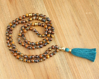 Tiger Eye Mala Necklace - Prayer Beads Meditation Mantra 108 Mala Yoga Japa Hindu Knotted Rosary