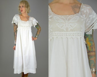 Butterfly Crochet Bohemian White Cotton Babydoll Empire Waist Dress