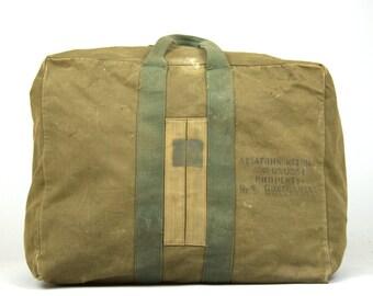 WW2 Aviator Duffle Stenciled 1940s USN Air Force Canvas Duffle USAF Flight Kit Helmet Bag