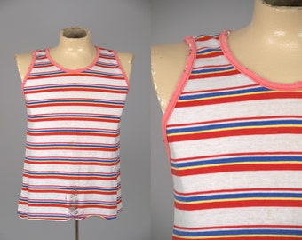 70s Striped Cotton Tank Distressed Candy Cane Beach Party Tank Top