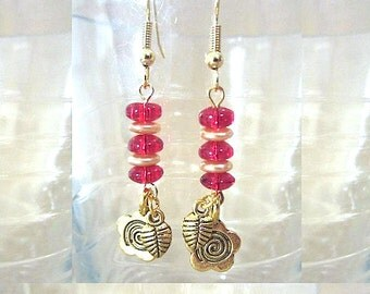 Red & Gold Stacked Glass Bead Dangle Earrings w/ Flower and Leaf Charms, Handmade Original Fashion Jewelry, Nature Inspired Holiday Colors