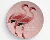 Pink Flamingo, Wedding Couple, Anniversary, Melamine Plate, Custom Plate, Bride and Groom, Decorative Plate, Gift, Bride and Groom