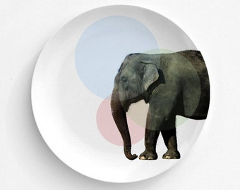 Pastel Circle Elephant - Melamine Plate - Dinnerware - Picnics - Fun Dining - Home Dining Decor