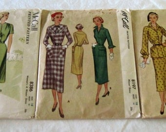 3 Vintage 1950's McCall's Women's Dress Sewing Patterns Size 18 Bust 36