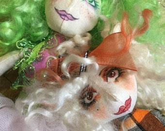 Two fairies by Chellie Lynn Merriman Cloth Art Dolls
