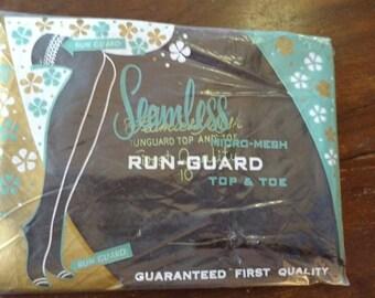 1950s Deadstock Run Guard Seamless Black Stockings