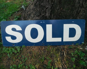 Vintage Blue Double Sided Metal Sign - SOLD