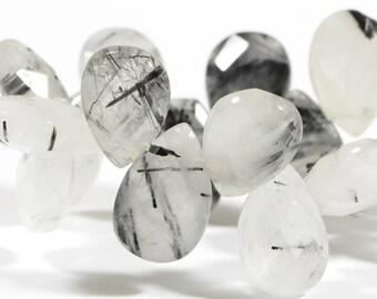 Rutilated Quartz 20 Beads Natural Gemstone Beads Faceted Quartz Beads Jewelry Making Supplies