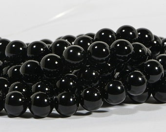 "Black Onyx 8.2mm Beads 15 1/2"" inch Strand Natural Gemstone Beads Jewelry Making Supplies"