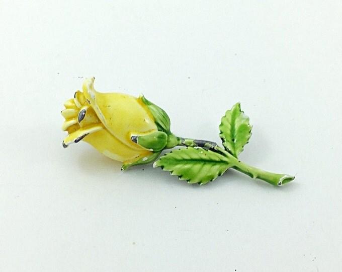 Pretty vintage Yellow Rose Brooch. Enamel metal flower brooch. Blossoming Brooch, yellow brooch.