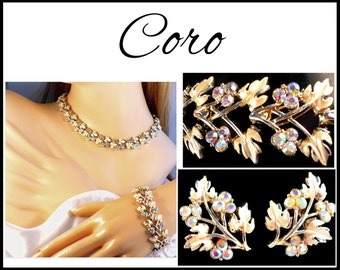 Coro Gold AB Rhinestone Necklace, Earrings & Bracelet Set, Aurora Borealis, AB Rhinestone Necklace, Bridal Jewelry Set, Gift for Collector