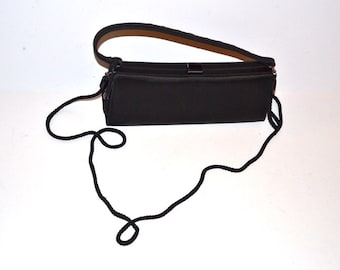 90s Valerie Stevens Dress black Purse Small satin  evening makeup cosmetic crossbody  bag   clutch Prom clutch   gift for her