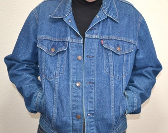Vintage   80s Levi's Denim Jacket Red Tab 4 Pocket Made in USA Levi Strauss 71506-0216 copper buttons  jacket   Size 44