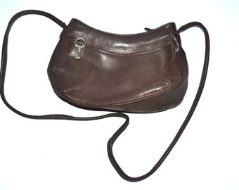 80s vintage designer brown leather small  purse by Fossil messenger shoulder crossbody bag Fossil Key