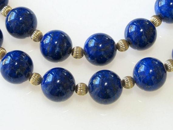 royal blue lapis lazuli long beaded necklace 14k gold filled. Black Bedroom Furniture Sets. Home Design Ideas